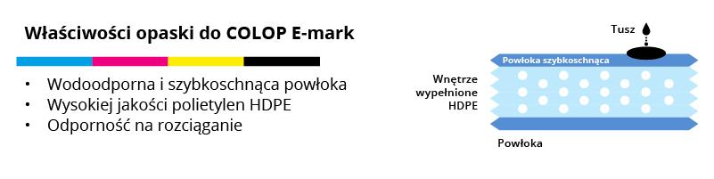 Właściwości opasek do znakowania urządzeniem COLOP E-mark